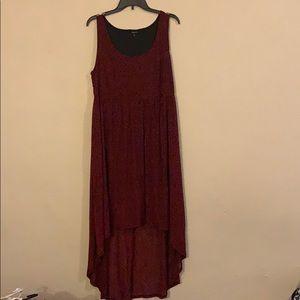 Red & Black Leopard Hi-Lo Sleeveless Dress
